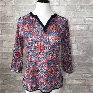 The Limited V neck pattern design sheer blouse